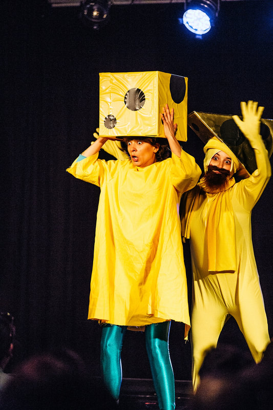 Little Cheese (Alicia Gonzalez) and Mr. Cheesehead (Debbie Zukerman) in You'll Never Guess Where I Hid the Cheese, Sydney Fringe 2017