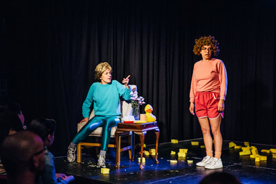 Bobbi (Alicia Gonzalez) and Wanda (Debbie Zukerman) in You'll Never Guess Where I Hid the Cheese, Sydney Fringe 2017